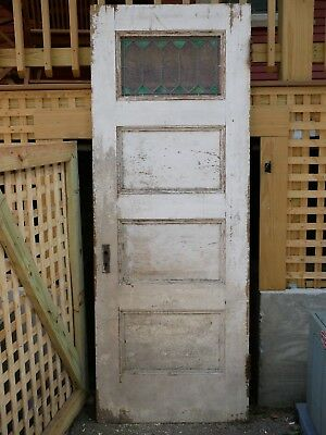 "Antique Vintage Solid Wood Horizontal 4 Panel Interior Door 29"" W x 80"" H 1900s"