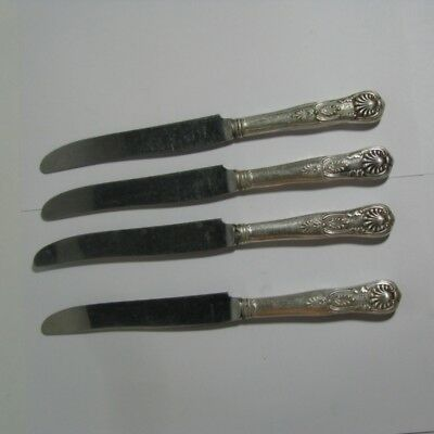 4 Chicago Key Club Silverplate Hollow Handle Knives with Stainless Steel Blades