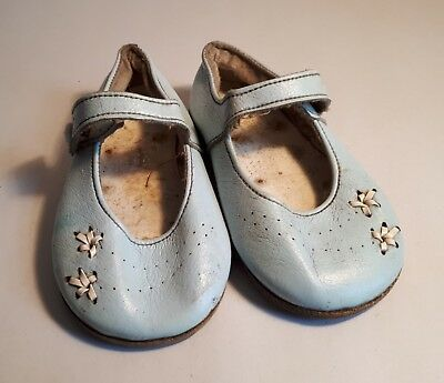 Rare 1950s Pale Blue (Boy) Leather Shoes by JEN, Stafford (England). UK1/ Eur 17