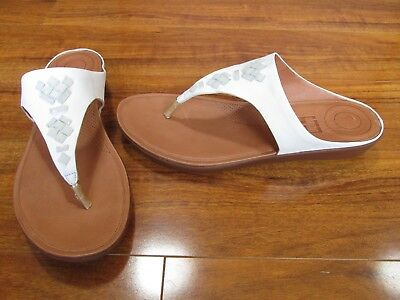 2364a7a2924 NEW FitFlop Banda II Thong Sandals w  Crystals WOMENS 11 White Leather  120.
