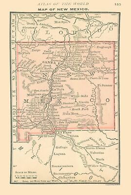 Old State Map - New Mexico - Alden 1886 - 23 x 34.18