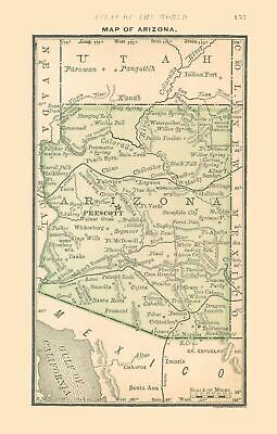 Old State Map - Arizona - Alden 1886 - 23 x 36.12