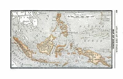 International Map - Oceania - Alden 1886 - 35.71 x 23