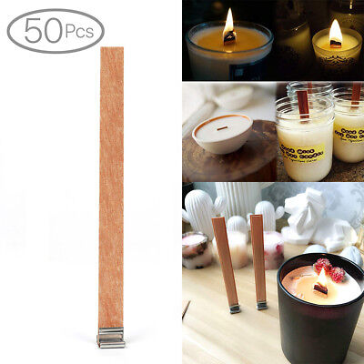 50 X Wooden Candle Wicks Core Supplies With Sustainer DIY Soap Making for Party