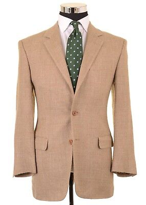 Brooks Brothers Made in Italy Beige Raw Silk Linen Wool Check Sport Coat 39 R