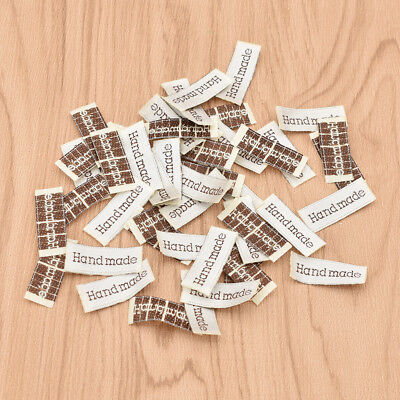 50 Pcs Handmade Pattern Fabric Labels Embroidery Crafts for Garment White Brown