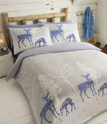 Warm winter stag duvet sets in flannelette brushed cotton quilt cover bedding