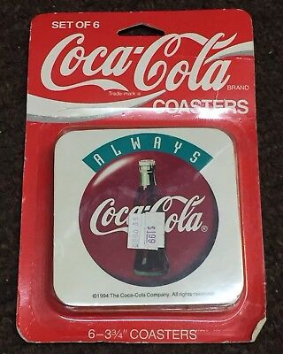 "Coca-Cola Coaster Set Of 6 Always 3 3/4"" New In Box Packaging NIB"