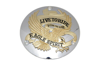 Eagle Spirit Derby Cover Gold Inlay,for Harley Davidson motorcycles,by V-Twin