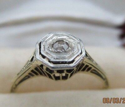 Vintage Art Deco14K White & Yellow Gold Filigree Diamond Ring 2 Grams Size 7.5