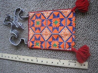 Huichol Embroidered Bag Morral Mexico Latin America Purse Geometric Textile