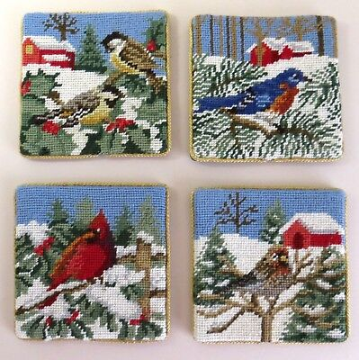 Handmade needlepoint Christmas coasters, protect your furniture beautifully!
