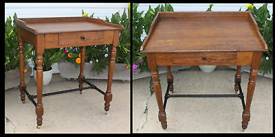 Antique 1800s Oak Railroad Depot Post Office Stand Up Desk Stool Height 1 Drawer
