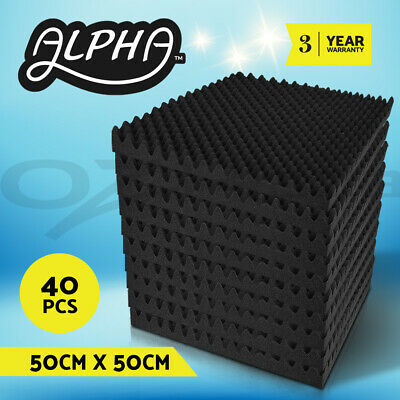 40x Acoustic Foam Panels Sound Stop Absorption Treatment Proofing Square 50x50cm