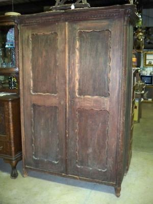 Primitive Pine Square Nail Plank Side Wardrobe Armoire Scalloped Doors Original