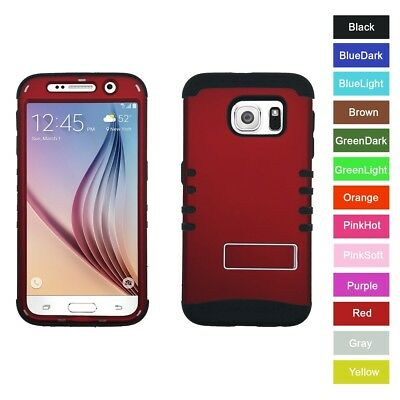 For Samsung Galaxy S6 Red Hybrid Hard&Rubber ShockProof Rugged Armor Case Cover
