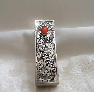Vintage Deco Lipstick Holder with Mirror Engraved 800 Silver w/ Orange Cab