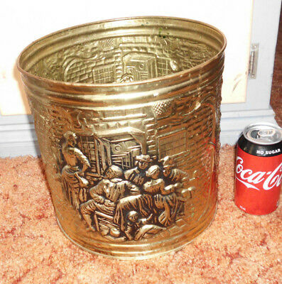 1960's VINTAGE BRASS FIRE PLACE COAL BUCKET WOOD RUBBISH BIN BUCKET MEDIEVAL