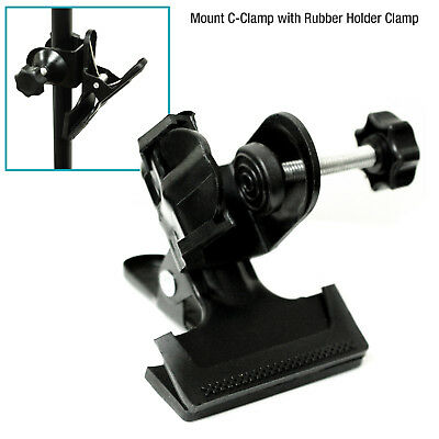 Photography Photo Studio C-Clamp  2 in 1 Mount with Rubber Holder Clamp