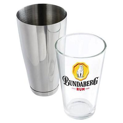124556 BUNDABERG BUNDY BEAR RUM BOSTON STAINLESS STEEL SHAKER & 700ml GLASS CUP