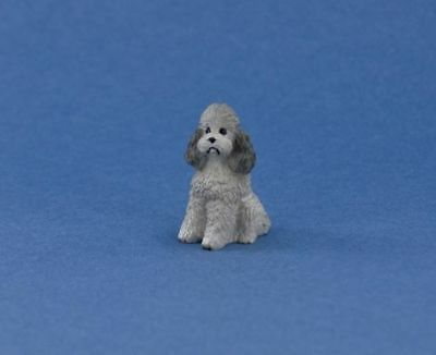 Adorable Dollhouse Miniature Grey Poodle Dog Sitting Figurine #DP104B