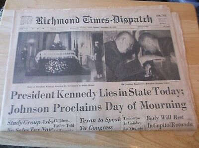 CR) RICHMOND TIMES Dispatch Kennedy Lies in State Today November 24, 1963
