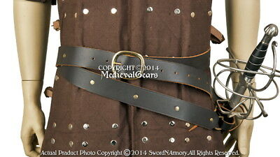Medieval Double Wrap Sword Belt w/ Frog Genuine Brown Leather Renaissance Attire