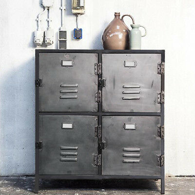 Kommode New Vintage 4 Turen Metall Vintage Anthrazit Sideboard