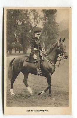 King Edward VIII in uniform and riding a horse - 1930's postcard