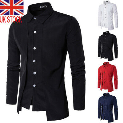 5a7971c3dbe UK NEW Mens Long Sleeve Dress Shirts Formal Business Casual Shirt Slim Plus  Size