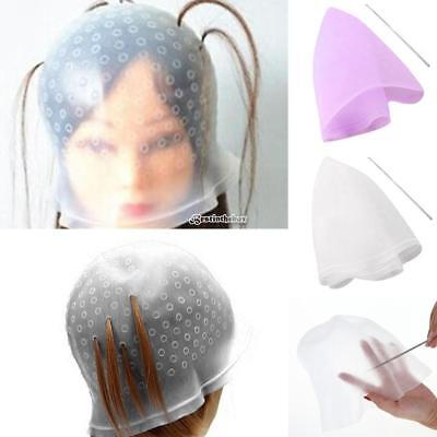 Reusable Silicone Hair Coloring Tools Highlighting Dye Cap with Metal B98B