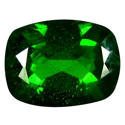 1.46 ct AAA+ Mind-Boggling Cushion Shape (8 x 6 mm) Green Chrome Diopside