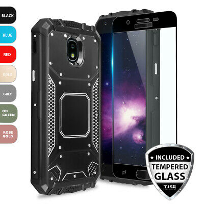 For Samsung Galaxy J7 V 2nd Gen 2018 Metal Magnetic Supprot Case+Tempered Glass