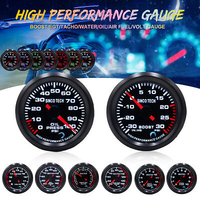 """2"""" 7 Color LED Car Turbo Boost/Water/Oil Temp/Press/Tachometer/Exhaust Gas Gauge"""