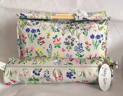 Knitting Bag  Sewing Bag with Matching Needle Holder 100% Cotton Spring Garden