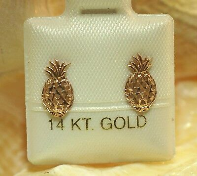 7.5MM SOLID 14K YELLOW GOLD DC 3D WHOLE HAWAIIAN PINEAPPLE LEVERBACK EARRINGS #1
