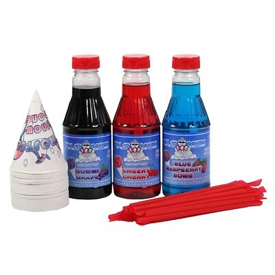3 Flavor Party Pack Snow Cone Cups & Shaved Ice Syrup Ready to Use