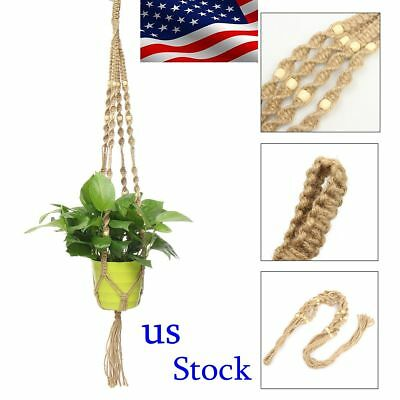 New Plant Basket Macrame Beed Hanging Pot Garden Jute Rope Planter Holder Home