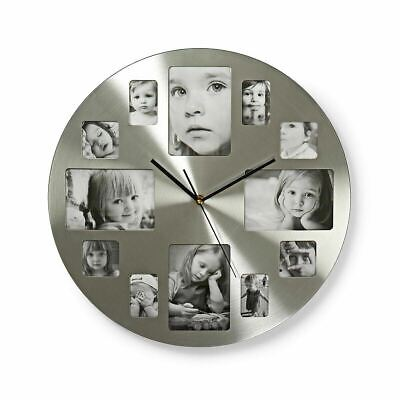 Silver 12 Multi Photo Picture Wall Clock Frame Time Collage Analogue Metal 40CM