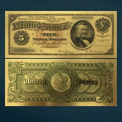24K GOLD FOIL PLATED 1923 $5 DOLLAR BILL BANKNOTE CURRENCY NOVELTY MONEY