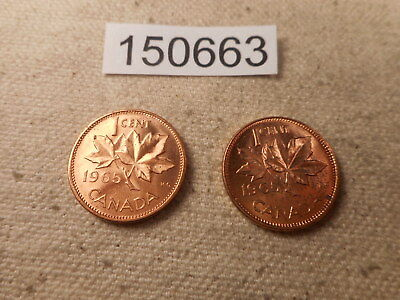 Two 1965 Canada One Cent Coins Very Nice Higher Album Grade Examples- # 150663