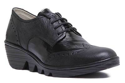 75f2bf8105e1 FLY LONDON PALT Black Patent Leather Lace Up Brogue Wedge Shoes 39 8 ...