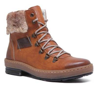 Rieker Womens Synthetic Padded Winter Ankle Boots In Brown Size UK 3 - 8