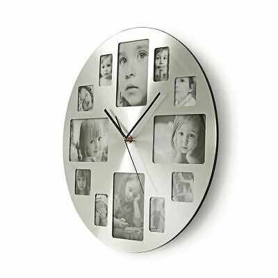 Nedis 40cm Photo Frame Wall Clock - 12 Multi Pictures Personalise Silver Metal