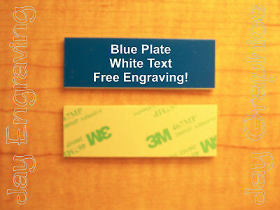 Engraved 1x3 Blue Tag Sign Plate  | Custom Personalized w/ Adhesive Backing