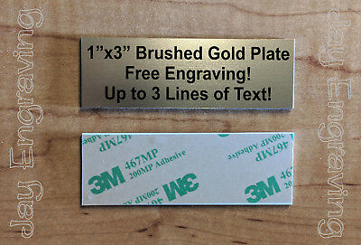 Engraved 1x3 Gold Tag Sign Plate  | Custom Personalized w/ Adhesive Backing
