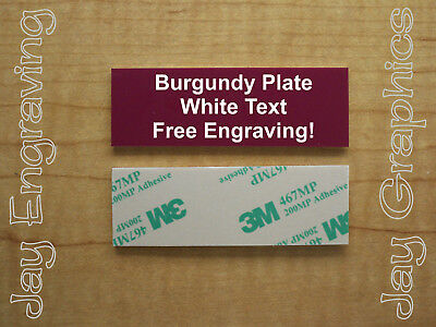 Engraved 1x3 Burgundy Tag Sign Plate  | Custom Personalized w/ Adhesive Backing