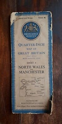 1946 Ordnance Survey Map (Sheet 4) Folded. NORTH WALES & MANCHESTER. 4th Edition