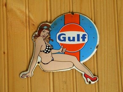 "GULF PIN UP GIRL PORCELAIN METAL SIGN ~6-1/2"" x 5-3/4"" LE MANS RACING OIL GAS"