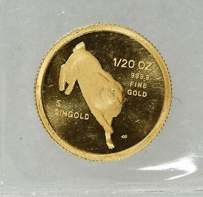 1987 1/20th oz FINE GOLD COIN REPUBLIC OF SINGAPORE YEAR OF THE RABBIT (5878)